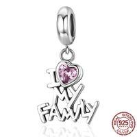 China El encanto de la plata esterlina 925 Amo mi corazón de la familia Cuelga el colgante del regalo de la familia de los encantos al por mayor