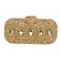 Fashion Golden Crystal Clutch Evening Bag Colorful Red Day C...