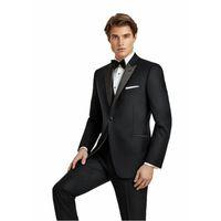 Özel Yapılmış Erkekler Siyah Takım Elbise Düğün için Balo Damat Smokin 3 Adet Erkekler Blazer Slim Fit Terno Masuclino Trajes de ...