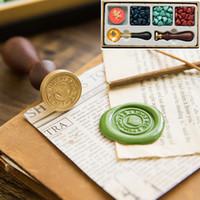 Retro Fire Paint Seal Wax Set DIY Papier Kaart Gift Envelop Decoratie Delicate Cuprum Stamps Houten Handvat voor Huwelijksuitnodiging