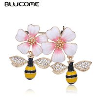 heap Brooches Blucome Latest Delicate Bee Flower Shape Ename...