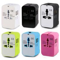 2.1A Adaptador de viaje Todo en uno Convertidores de potencia universales Adaptador de enchufe de alimentación Cargador 2 puertos USB para EE. UU. UE Reino Unido AUS