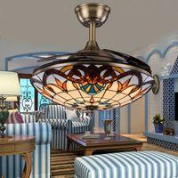 Tiffany Складной потолочный вентилятор светильник из цветного стекла бесшумный моторный пульт дистанционного управления 3 светлых цвета и 3 скорости ветра регулируемые
