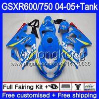 Кузов + бак для SUZUKI GSXR 750 GSX R750 K4 gsxr 600 GSX-R600 04 05 295HM.0 GSXR-750 04 05 GSXR600 GSXR750 2004 2005 обтекатели Фабрика синий