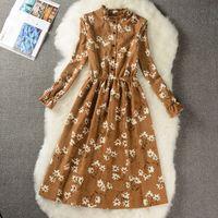 2019 Frühlings-Herbst-Mode Mid-Long Cozy Corduroy Kleid-Weinlese-Druck-Kleid Student Süß Female Arbeit Büro Plus Größe 117