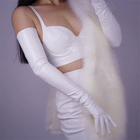 Women' S Patent Leather Long Gloves 70cm Long Elbow Simu...