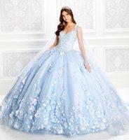 2020 라이트 블루 볼 가운 Quinceanera 드레스 파란색 Bodice 코르 셋 레이스 플로랄 아플리케 댄스 파티 드레스 랩 공주 가운 레이스 업