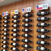 Hierro montado en la pared Titular de vino de estilo europeo inclinado / Heterosexual estante del vino vino tinto Champagne exhibición de la botella del estante del soporte organizador Preferido