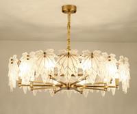 Pendurado luminária de vidro fosco Canadá Maple Leaf Lâmpadas Pingente chapeamento de ouro Quadro E14 LED lustres modernos Decore LLFA