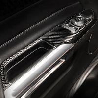 Pour Ford Mustang Car Styling fibre de carbone Lève-vitre Commutateur de commande de fenêtre Cadre panneau décoratif garniture couverture intérieur Accessoires Auto