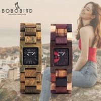 나무 상자 CJ191116에서 보보 버드 25mm 작은 여성 시계 나무 석영 손목 시계 시계 베스트 여자 친구 선물 Relogio Feminino