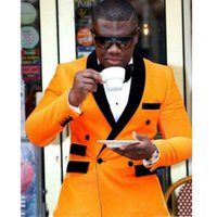 XZ54 orange Bräutigam Smoking zweireihige Männer Hochzeit Smoking Schwarz-Schal-Revers-Jacke Blazer populäre Männer Abendessen / Darty Suits