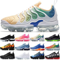 Ucuz TN PLUS Erkek Kadın Sunset DOĞRU Sarı Üçlü Siyah Beyaz Hyper Kırmızı Erkekler Eğitici Spor Sneaker Boyut 5,5-11 BE Koşu Ayakkabıları