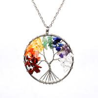 12pc / set Collar de árbol de la vida 7 cuentas de piedra de chakra amatista natural joyería de cadena de plata collar de gargantilla para el regalo de la mujer YD