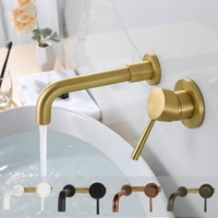 Твердый латунный настенный смеситель для раковины Твердый латунный хромированный кран для ванной комнаты из черного золота с одной ручкой в настенном смесителе для воды