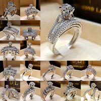 Kristall Diamant Ring Zirkonia Krone Engagement Hochzeit Ringe Set Wrap Braut Kombination Band Modeschmuck Will und Sandy Geschenk