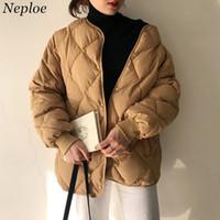 Neploe gola Down Jacket casaco quente Mulheres New Grosso Inverno Argyle da manta Jaquetas senhoras Casacos Tops Roupa 37428