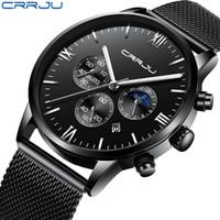 erkek saat CRRJU Mode-Sport-Quarz-Kalender-Fenster Uhr Herren-Uhr-Spitzenmarken Luxus Militär Leder wasserdicht Männer Uhr