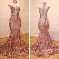 2019 Custom Gold Sequined Prom Abiti da sera senza maniche High Neck Sparkly Mermaid Lungo Prom Party Gowns Pageant Dress Custom Size