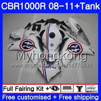Cuerpo + tanque para HONDA CBR1000 RR CBR 1000 RR 08 09 11 277HM.22 CBR1000RR 08 09 10 11 Azul R blanco caliente CBR 1000RR 2008 2010 2010 2011 Carenados