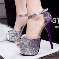 Donne Sexy Peep Toe Super High Heels Bling Dress Shoes Wedding Party Sera Stiletti Platform pumps KS58