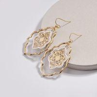 Grand Cadre en métal creux Feuille de feuilles Boucles d'oreilles Boucles d'oreilles Crochet de bijoux Boucle d'oreille pour femmes