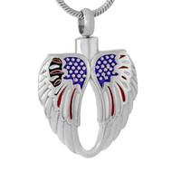 أجنحة الملاك الريشة القلب مع مجوهرات العلم الأميركي الحرق قلادة لحقوق رماد جرة حامل التذكار مجوهرات الحرق جرة قلادة