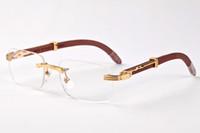 2020 di moda Ombra Rimless Occhiali da sole Uomini Legno E Natura corno di bufalo Mens guida Eyewear Moda Uomo Sport occhiali da sole di vetro