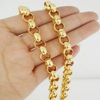 8MM Hotsale acciaio inossidabile 316L oro tono catena mano Rolo collegamento rotonda donna collana di Mens del braccialetto o 7-40inch Scegli