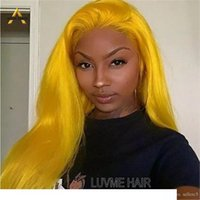 AIVA Brazilian Human Hair Yellow Firefly Color Straight Wigs...