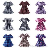 Girl Princess Dress 2019 Estate Ruffle Sleeve Bambini Plaid Dot Dress Abbigliamento Baby Abbigliamento Ins Bambini Lattice Stampa Vestito da spiaggia 9 colori