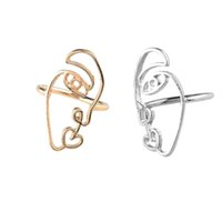 2pc set New Ethnic Metal Hollow Human Face Rings for Women Fashion Creative Rings for Fingers Jewelry Gift Drop shipping