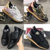 Nueva Rockrunner camuflaje para hombre de las zapatillas de deporte de cuero tachonado de la roca corredor de zapatos de mujer de Pisos Formadores acoplamiento de la manera zapatos de cuero Tamaño 35-45
