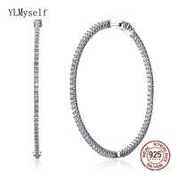 Consiglia 56 millimetri grande cerchio in argento reale sterlina orecchino micro spianare piccolo gioielli in cristallo gioielli grande 925 cerchio orecchini CX200628