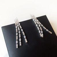 Pendientes de la borla de oro blanco plateado pendientes para mujeres exagerada brillantes del partido regalo de las mujeres pendientes