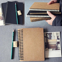 Venta caliente blanco de la vendimia Papel Kraft retro del cuaderno del diario Diario Sketchbook espiral Memo Bound