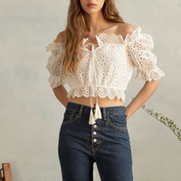 Solid Casual Women Blouse Slash Neck Puff Sleeve Tassel Bandages Hollow Out Crop Tops Primavera primavera 2019 Moda