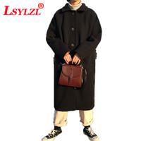 Muchas de lanas para mujer Abrigo de las mujeres 2021 Otoño invierno coreano soltero bolsillo de bolsillo de lana de largo-largo-largo para mujer C622
