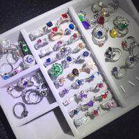 anelli all'ingrosso strass colorato strass placcato oro di buona qualità moda argento anello misto stili di modo diverso moda gioielli di nozze moda priva di dhl