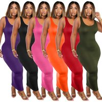 womens summer one piece dress sleeveless skirt Ankle-Length high quality skinny dress elegant luxury clubwear women clothing klw4201