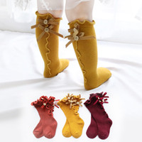 Children Solid Color Socks Baby Summer Bow Wooden Ear Lace C...