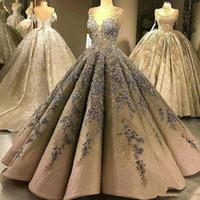 2019 luxo lantejoulas vestido de baile vestidos de baile querida rendas applique frisado vestido de noite até o chão vestido quinceanera árabe