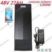 48V 1200W Ebike-Akku 48V 27AH Lithium-Ionen-Akku für Gepäckträger Verwendung für Samsung-Zelle mit USB-Anschluss Rücklicht mit BMS und 2A-Ladegerät.