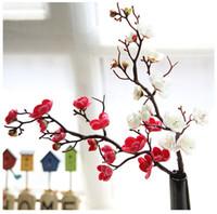 Plum Kirschblüten-Kunstseide-Blumen flores Sakura tree branches Heimtabelle Wohnzimmer-Dekor-DIY Hochzeitsdekoration