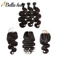 Wews de cabelo humano virgem brasileiro não processado com fechamento 3 pcs + 1 pc fechos de renda extensões de cabelo onda corporal trama dupla bellahair