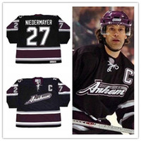 Men  27 scott niedermayer Anaheim Mighty Ducks 2005 CCM Vintage Alternate  ice hockey stitched retro Jersey color white black purlpe e7009a25f