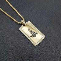 Hip Hop in acciaio inox Punk Freemason Masonic Square a forma di Associazione Fraternica Fraternity Mason Pendant Collana Gioielli con Pietra CZ