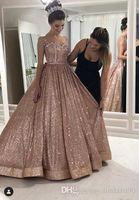 Rose Gold Quinceanera Kleider Sexy Afrikaner Ballkleider Perlen Backless Pailletten Abendkleider Sparkly Formal Party Homecoming Kleid