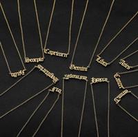 Jóias Presentes inoxidável Old Colar aniversário Inglês Aço Zodiac carta personalizada colar constelação de colares Personalizado