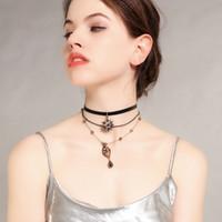 Multi layer Temperament Pendant Stars Drop Choker Collar Banquet Dress Necklace Female Chains Chokers Gift Women fashion Jewelry LJJJ172